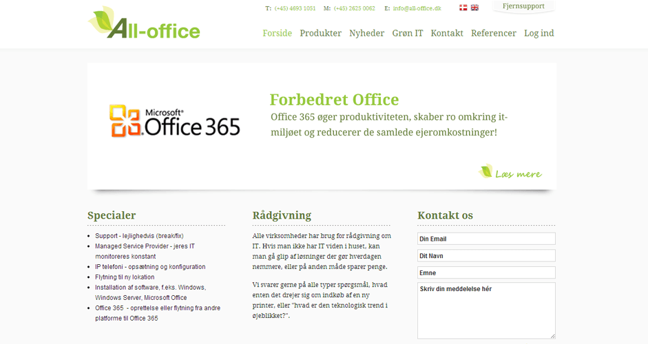 all-office.dk - Fleksibel Joomla CMS løsning